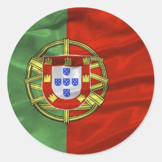 Etiqueta da bandeira de Portugal Adesivos Em Formato Redondos