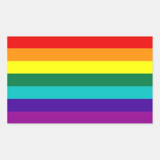 Etiqueta da bandeira do orgulho gay do arco-íris adesivo retangular