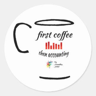 Etiqueta da contabilidade - primeiro café,