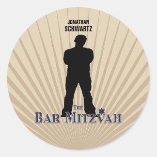 Etiqueta da estrela de cinema de Mitzvah do bar no Adesivos Redondos