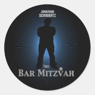 Etiqueta da estrela de cinema de Mitzvah do bar no Adesivos Em Formato Redondos