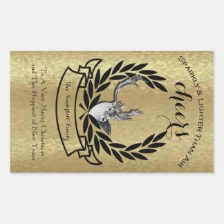 Etiqueta da folha de ouro e da garrafa de vinho do adesivos em formato retangulares