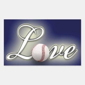 Etiqueta da foto do basebol do amor adesivos em formato retangulares