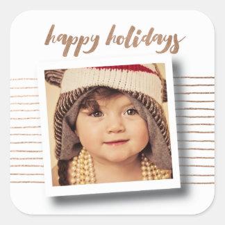 Etiqueta da foto do Natal do bronze boas festas Adesivo Quadrado
