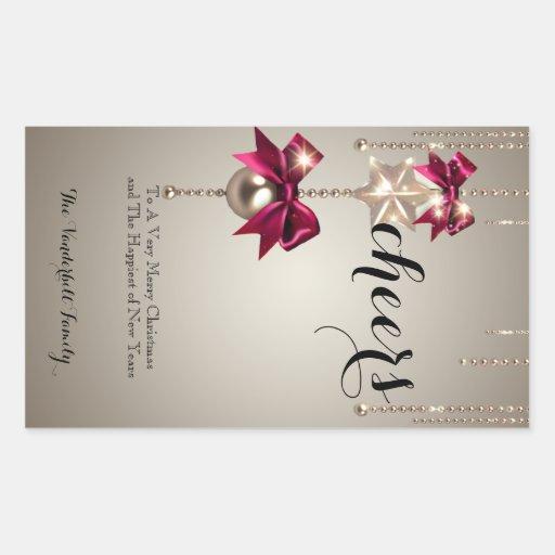 Etiqueta da garrafa de vinho do ouro e do Natal Adesivo Em Forma Retangular