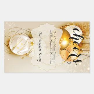 Etiqueta da garrafa de vinho do ouro e do Natal de Adesivos Retangular