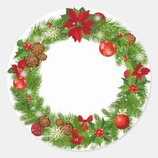 Etiqueta da grinalda do Natal Adesivo