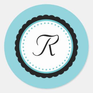 Etiqueta da inicial do monograma do Aqua do pop da Adesivo