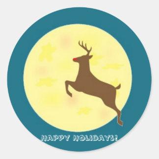 Etiqueta da rena boas festas adesivos em formato redondos