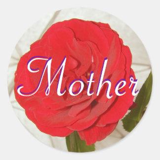Etiqueta da rosa vermelha da mãe adesivo
