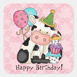 Etiqueta da vaca da celebração do aniversário adesivo quadrado
