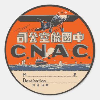 Etiqueta da viagem aérea do vintage