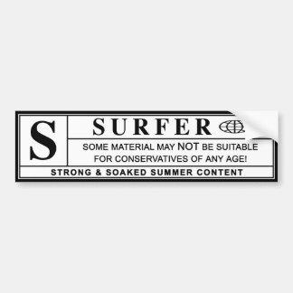 etiqueta de advertência do surfista adesivo para carro
