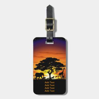 Etiqueta De Bagagem Animais selvagens em Tag da bagagem do por do sol