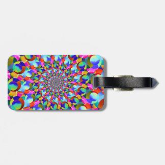 Etiqueta De Bagagem Arte espiral do Fractal do arco-íris
