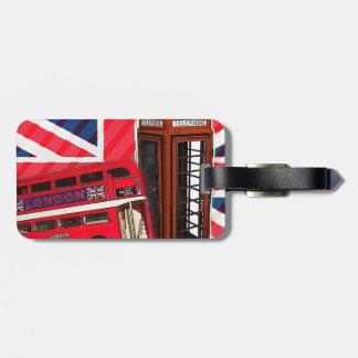 Etiqueta De Bagagem Cabine de telefone vermelha do ônibus retro de