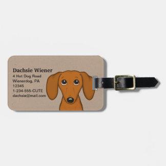 Etiqueta De Bagagem Cão bonito do Wiener dos desenhos animados do