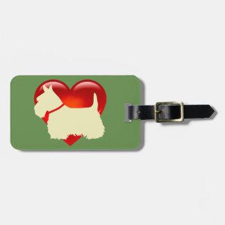 Etiqueta De Bagagem Cão de Terrier do Scottish, coração vermelho,