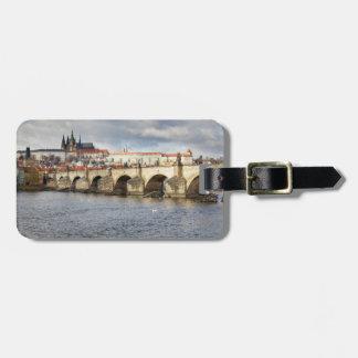 Etiqueta De Bagagem Castelo de Praga e foto da lembrança da ponte de