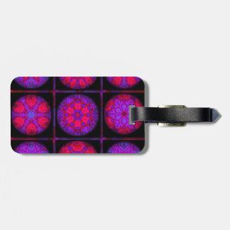 Etiqueta De Bagagem Colagem cor-de-rosa e roxa do Fractal