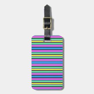 Etiqueta De Bagagem Correia listrada amarela e cor-de-rosa azul Funky