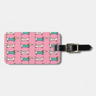 Etiqueta De Bagagem Dachshunds no amor cor-de-rosa