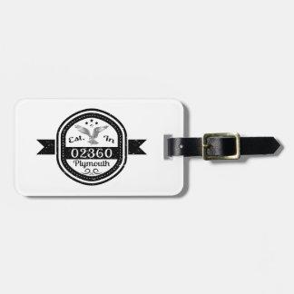 Etiqueta De Bagagem Estabelecido em 02360 Plymouth