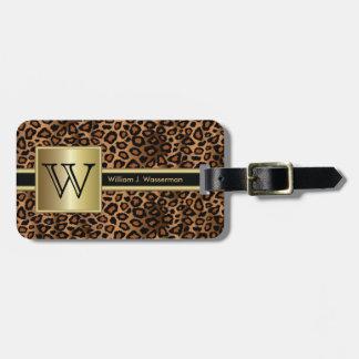 Etiqueta De Bagagem Estilo do executivo do monograma do leopardo