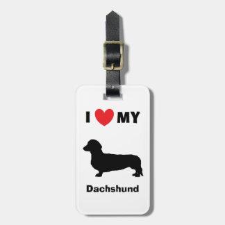 """Etiqueta De Bagagem """"Eu amo Tag da bagagem do meu Dachshund"""""""
