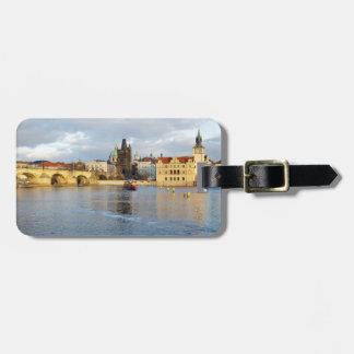 Etiqueta De Bagagem Foto da lembrança de Praga do rio de Vlatva