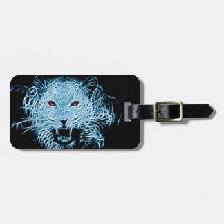 Etiqueta De Bagagem Fractal azul do leopardo de Digitas