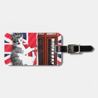 Etiqueta De Bagagem gato do gatinho da coroa da cabine de telefone da