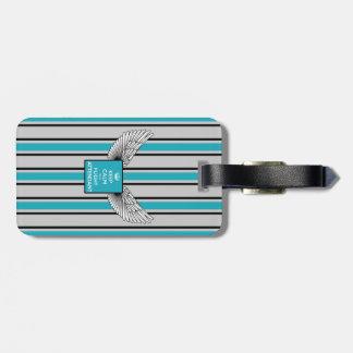 Etiqueta De Bagagem Gray and blue kciafa retro logo with stripes