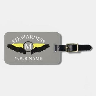Etiqueta De Bagagem Grupo da cabine do avião de Stewardes