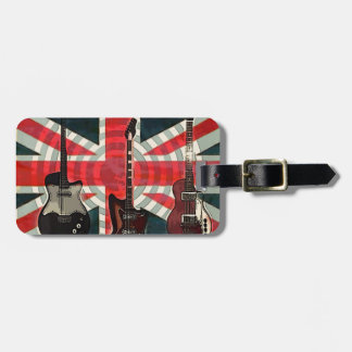 Etiqueta De Bagagem Guitarra elétrica do rolo britânico da rocha da