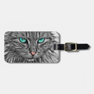 Etiqueta De Bagagem Ilustração cinzenta do gato do Fractal