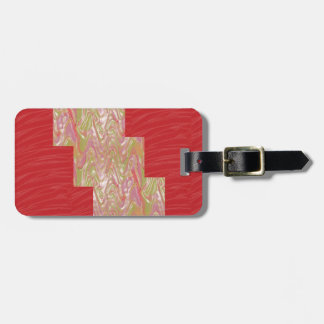 Etiqueta De Bagagem Impressão vermelho elegante DE SEDA do tecido das