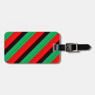 Etiqueta De Bagagem Kwanzaa colore o teste padrão verde preto vermelho