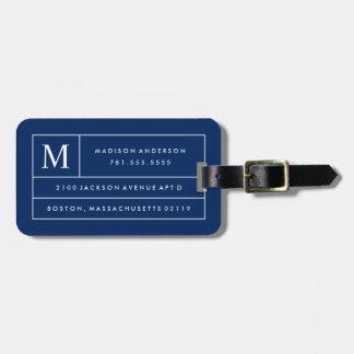 Etiqueta De Bagagem Linhas modernas Tag dos azuis marinhos da bagagem