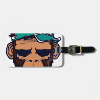 Etiqueta De Bagagem Macaco legal com um cigarro