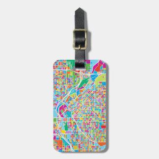 Etiqueta De Bagagem Mapa colorido de Denver
