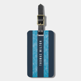 Etiqueta De Bagagem Monograma elegante das listras azuis