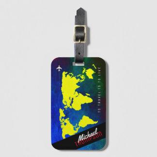 Etiqueta De Bagagem nome & avião no worldmap amarelo