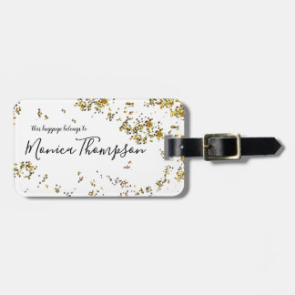 Etiqueta De Bagagem nome escrito à mão + o ouro splattered pontilha