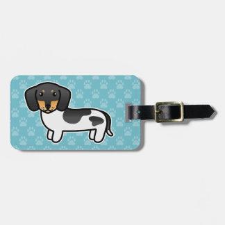 Etiqueta De Bagagem Preto e cão liso do Dachshund do casaco do animal