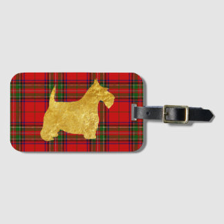 Etiqueta De Bagagem Scottish Terrier do ouro na xadrez