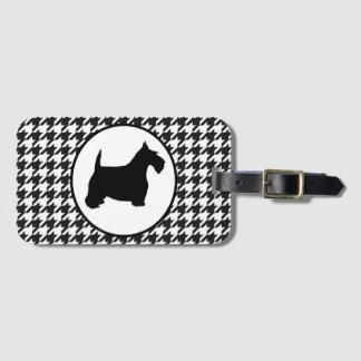 Etiqueta De Bagagem Scottish Terrier Houndstooth preto e branco