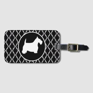 Etiqueta De Bagagem Scottish Terrier Quatrefoil preto e branco