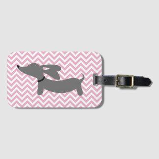 Etiqueta De Bagagem Tag cor-de-rosa & cinzento do saco da bagagem do