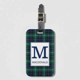 Etiqueta De Bagagem Tartan de MacDonald do clã Monogrammed